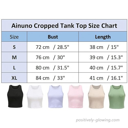 Ainuno Womens Crop Top 2 Pack Sleeveless Crew Neck Cropped Tank Tops Yoga Tops at Women's Clothing store
