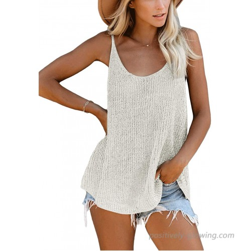 CNFUFEN Womens Casual Sleeveless Shirts Scoop Neck Knit Tank Tops Summer Vest