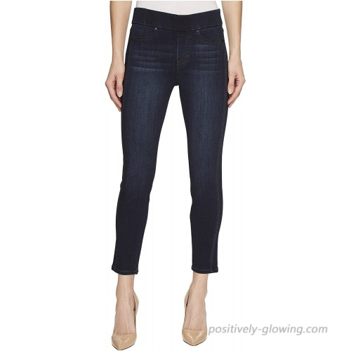 Liverpool Womens Petite Sophia Ankle Pull-On with Seaming Detail in Silky Soft Stretch Denim in Dunmore Dark at  Women's Jeans store