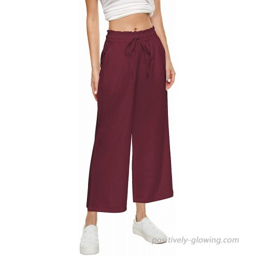 BCOFUI Womens Linen Flowy Pants Wide Leg High Waisted Baggy Trousers with Pockets at  Women's Clothing store