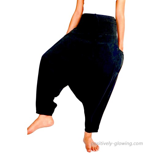 Kesornphusa Harem Pants Jumpsuit 2in1 Styles Free Size 2 Pocket Fit Bohemian Casual Black US-Free Size at Women's Clothing store