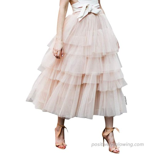 Chicwish Women's Nude Pink Black Tiered Layered Mesh Ballet Prom Party Tulle Tutu A-line Midi Skirt at  Women's Clothing store