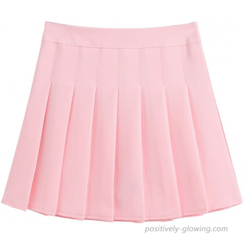 chouyatou Women's Simple High Waist All Around Pleated A-Line Skirt at Women's Clothing store