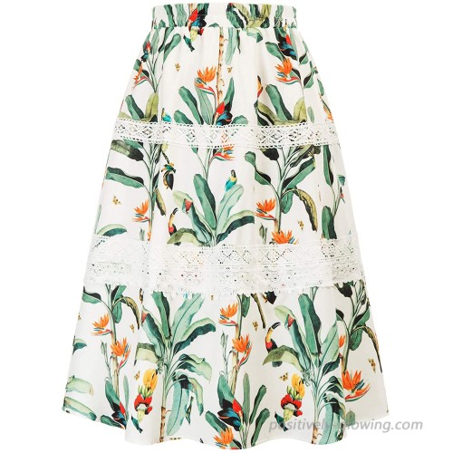 GRACE KARIN Women's Boho Floral Print High Waist Pleated A Line Midi Skirt Lace Swing Flared Skirt at Women's Clothing store