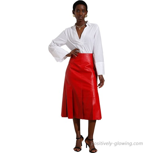 Smart Universe Wear Lambskin Leather Skirts for Women A-Line Pleated Skater Midi Skirt with Slit Red at  Women's Clothing store