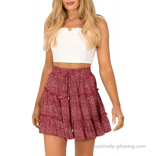 Uaneo Womens Summer Floral Print Elastic High Waist Ruffle Pleated Mini Skirt at Women's Clothing store