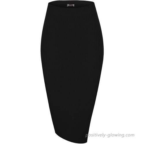Urban CoCo Elastic Skinny High Waist Solid Ribbed Knit Office Pencil Skirt at Women's Clothing store