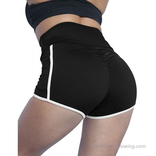 HYZ Women's High Waist Ruched Running Workout Tummy Control Non See-Through Yoga Shorts Side Pockets