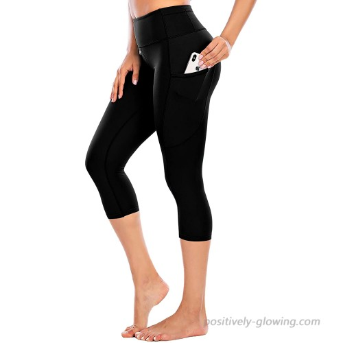 Ecupper Womens High Waist Yoga Pants Running Capri Leggings with Pockets Tummy Control Workout Pants at  Women's Clothing store