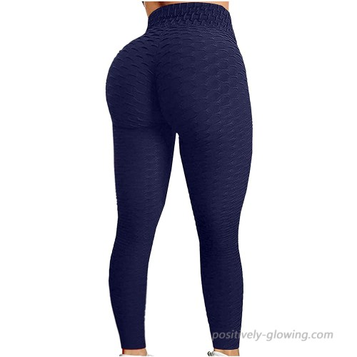 Kahbin Women's High Waist Yoga Pants Textured Tummy Control Butt Lift Leggings Workout Running Stretchy Booty Tights at  Women's Clothing store