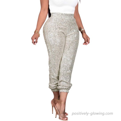 RAMOUG Women's Shiny Sequin Lined Pants Party Club High Waist Glitter Long Leggings at  Women's Clothing store