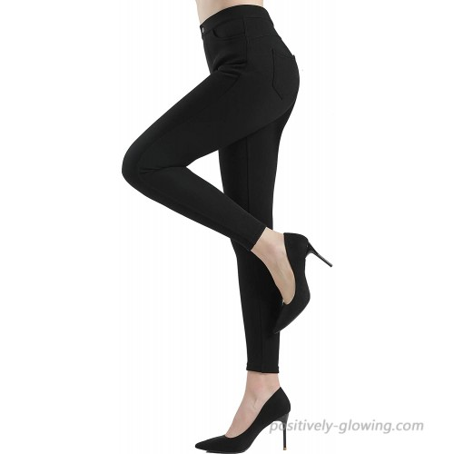 SERIMINO Women's Fleece Lined Winter Leggings Stretch High Waist Pants Tummy Control with Pockets at  Women's Clothing store