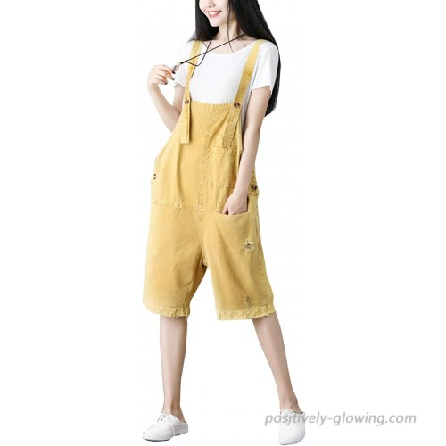 Flygo Women's Loose Baggy Cotton Ripped Knee Length Short Bib Overalls Shortalls One Size Yellow