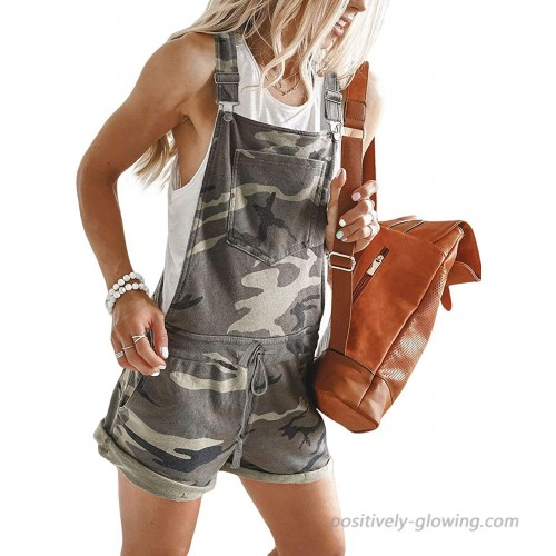 QUEENIE VISCONTI Women Summer Leopard Shorts Overalls Casual Sleeveless Jumpsuits Rompers with Pockets