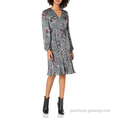 Adrianna Papell Women's Floral Faux Wrap Dress with Pleated Skirt at  Women's Clothing store