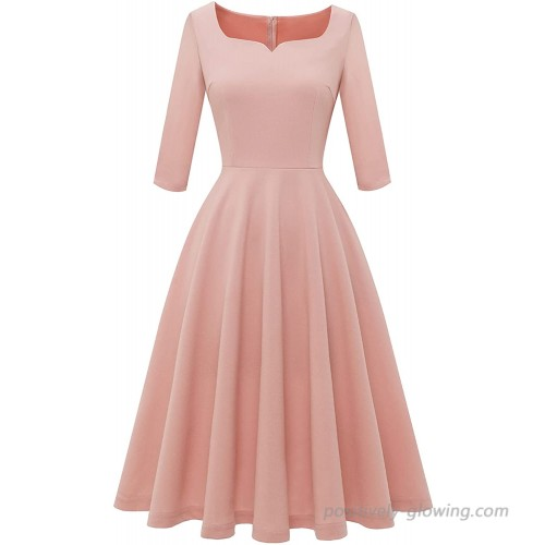 Dressystar Women Tea Length Formal Swing Dress Aline Vintage Cocktail Party Dress with Pockets Sweetheart Neck 3 4 Sleeve at  Women's Clothing store