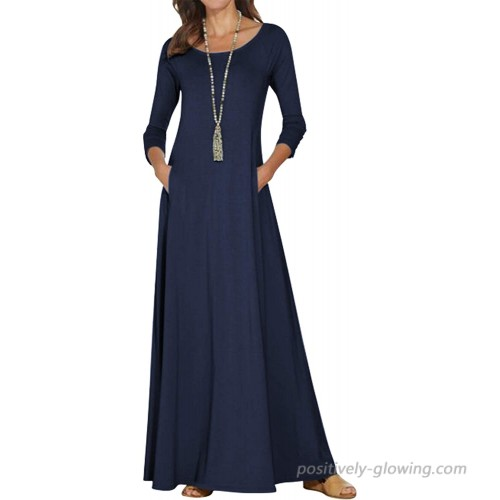 Jacansi Women's Spring Casual 3 4 Long Sleeve Maxi Dresses with Pockets Plus Size