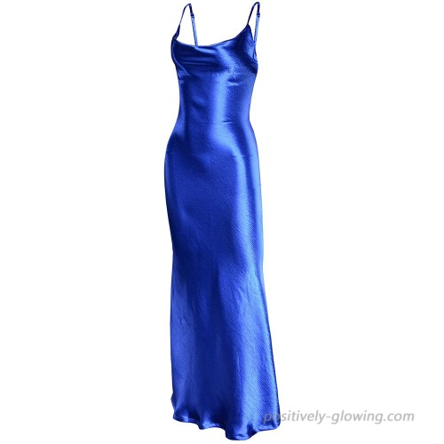 Maggie Tang Women's Spaghetti Strap Backless Satin Party Evening Gown Dress Cowl Neck Slip Cocktail Dresses