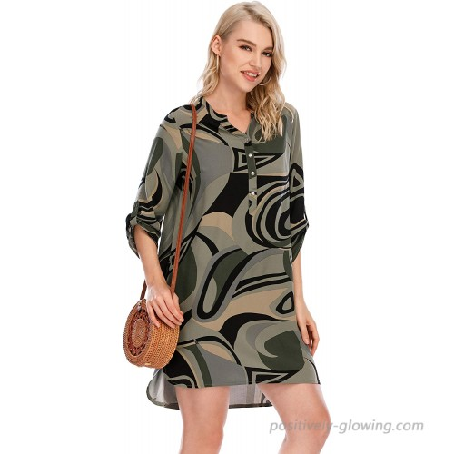 M.Nollby Womens Casual Floral Dress 3 4 Sleeve V Neck Button Summer Blouse Dress