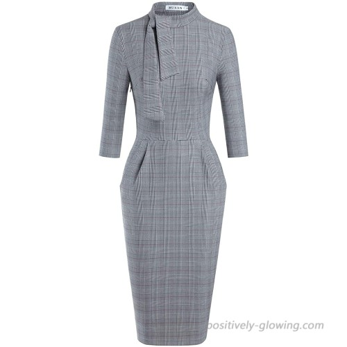 MUXXN Women's Classic Vintage Tie Neck Formal Cocktail Dress with Pocket at  Women's Clothing store