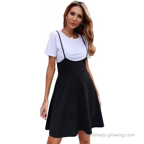 SheIn Women's Basic High Waist Flared Suspender Skirt Overall Dress Without Tee at  Women's Clothing store