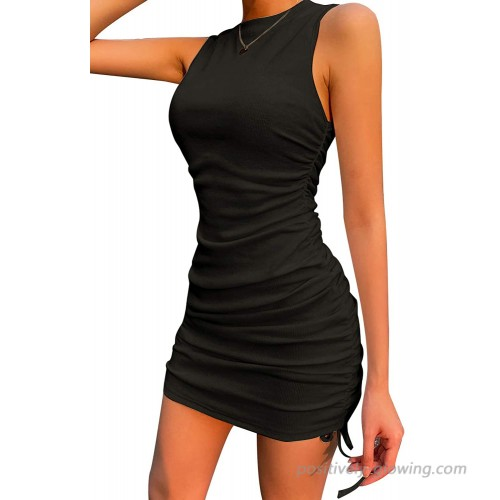 Velius Women's Sexy Sleeveless Drawstring Ruched Knitted Bodycon Mini Dress at  Women's Clothing store