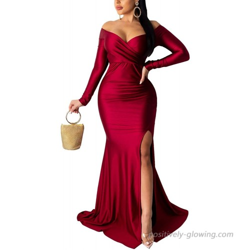 Women's Off Shoulder High Split Long Formal Party Maxi Dress Evening Gown at  Women's Clothing store