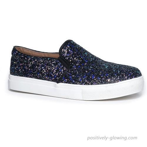 J. Adams Glimmer Sneakers for Women - Casual Glam Slip On Walking Shoes Fashion Sneakers