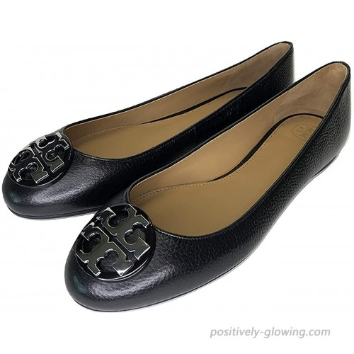Tory Burch Claire Ballet Flat Tumbled Leather Perfect Black Silver 8.5 Flats