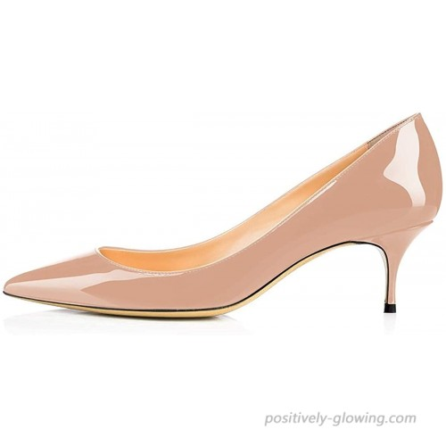 Odernee Pumps Shoes 6.5 cm Mid-Heels Slip On Pointed Toe Office Dress Stiletto Pumps Patent Leather Kitten Heel Shoes