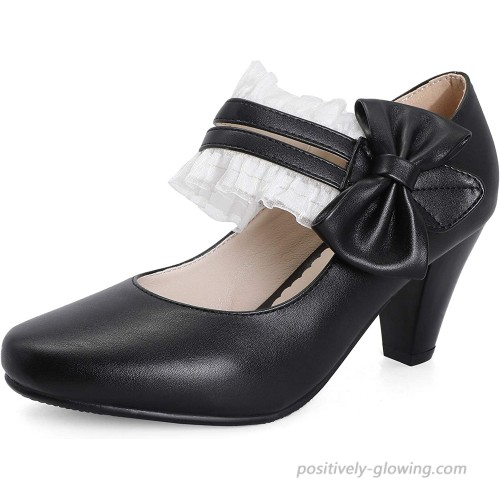 Odisen Bow lace Mary Jane Shoes Women Heels and Pumps Ladies Block High Heel Sweet Lolita Ankle Strap Dress Pumps Hook and Loop Heels Closed Toe Pumps