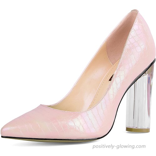 SOPHITINA Round Clear High Heeled Women Pumps Sexy Pointed Toe Pearl Shining Leather Pumps Party Wedding Dress Shoes Shoes