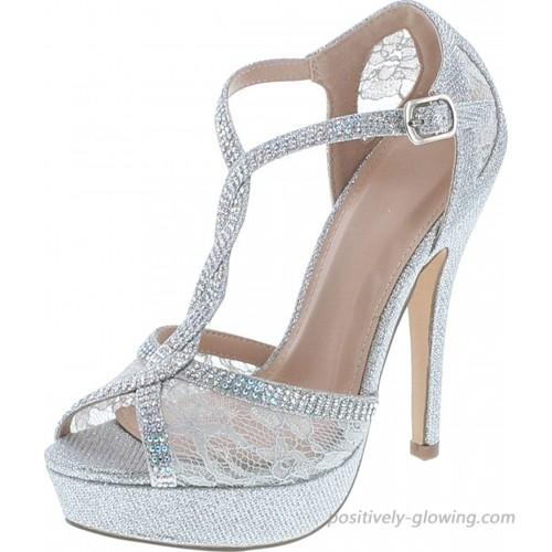 Static Footwear Hy-5 Formal Evening Party Lace Ankle T-Strap Peep Toe Stiletto High Heel Pumps Pumps