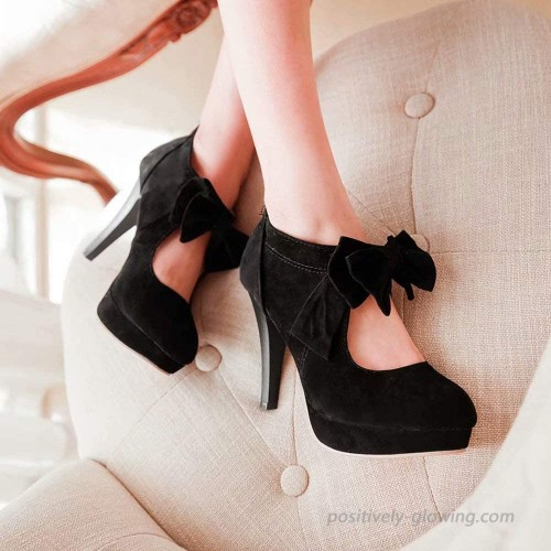 Womens High Heels Platform Bowtie Shoes High Heeled Stiletto Heels Wedding Shoes Zipper Lady Pumps with Bowknot Shoes