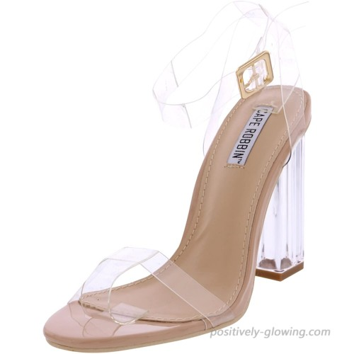 Cape Robbin Maria-2 Women's Lucite Clear Strappy Block Chunky High Heel Open Peep Toe Sandal Nude 7 Heeled Sandals