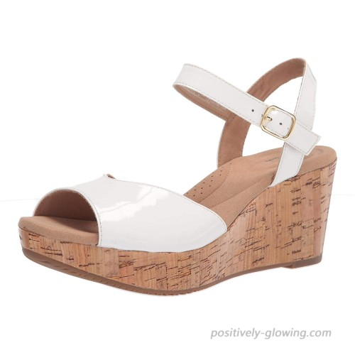 Clarks Women's Annadel Mystic Wedge Sandal White Patent Synthetic 6.5 Platforms & Wedges