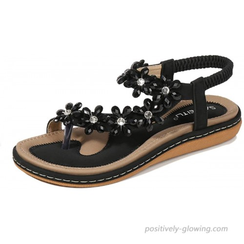 HNGHOU Women's Bohemia Beach Flat Sandals Casual Open Toe Ankle Crystal Gladiator Sandals Shoes Flats