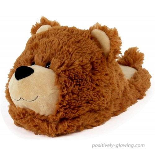 AnimalSlippers.com Fuzzy Bear Slippers - Plush Teddy Animal Slippers Brown 7-10.5 Slippers