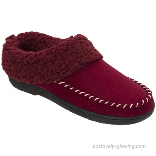 Dearfoams Women's Microsuede Clog Memory Foam Slipper with Whipstitch X-Large Cabernet Slippers