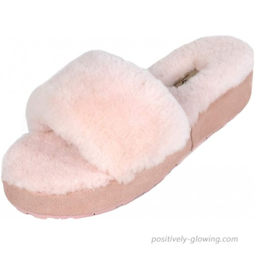 DREAM PAIRS Women's New Spa-01 Slide Fluffy Comfy Winter Slippers Slippers