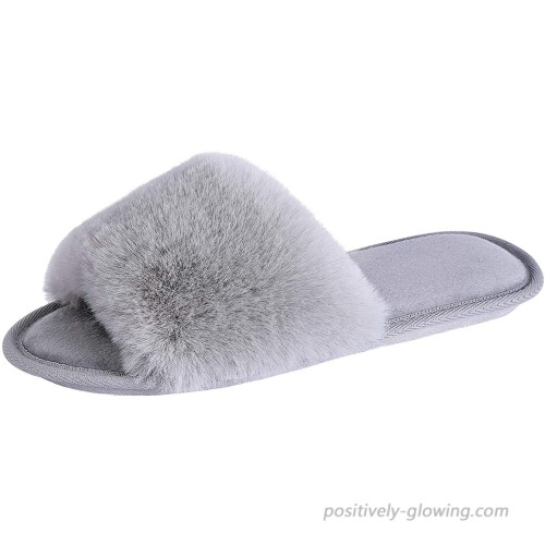Fur Fuzzy Slippers House Slippers for Women Slip on Memory Foam Fluffy Slides Lightweight Cozy Soft Indoor Outdoor Shoes Slippers