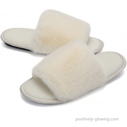Fuzzy Slippers Fluffy Bedroom Flats Shoes Plush Open Toe Cozy Menory Foam Soft Comfortable Warm Anti-slip House Slippers Slides Slippers