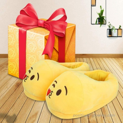 Heasenbei House Slippers for Women and Mans Unisex Emoticons Slippers Plush Fluffy Cotton Slippers Warm and Comfortable Cute House Shoes for Indoor or Outdoor Yellow Slippers
