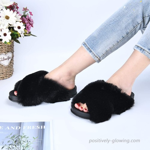 LORDFON Womens-Fluffy-Cross-Band-House-Slippers Open Toe Soft Fuzzy Furry Faux Fur Slip On Indoor Slide Sandals for Women Non-Slip Woman Comfy Cozy Home Open Toed Summer Slippers Anti-Skid Slippers