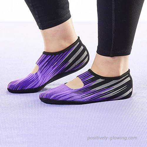 NuFoot Mary Janes Women's Shoes Foldable & Flexible Flats Slipper Socks Travel Slippers & Exercise Shoes Dance Shoes Yoga Socks House Shoes Indoor Slippers Purple Aurora Extra Large