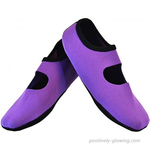 NuFoot Mary Janes Women's Shoes Foldable & Flexible Flats Slipper Socks Travel Slippers & Exercise Shoes Dance Shoes Yoga Socks House Shoes Indoor Slippers Purple Large