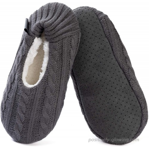 ULTRAIDEAS Women's Cozy Knitted Slipper Socks with Grippers Soft & Warm Fuzzy House Slippers for Indoor Use Shoes