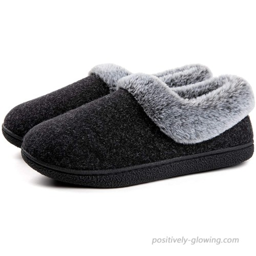 ULTRAIDEAS Women's Cozy Memory Foam Slippers with Plush Faux Fur Collar Ladies' Slip on House Shoes with Indoor and Outdoor Anti-Skid Rubber Sole Slippers