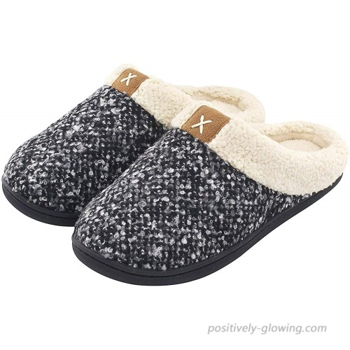 Women's House Slippers Comfort Fuzzy Wool-Like Plush Fleece Lined Cozy Memory Foam Shoes Slip-on Clog for Indoor & Outdoor Use Slippers