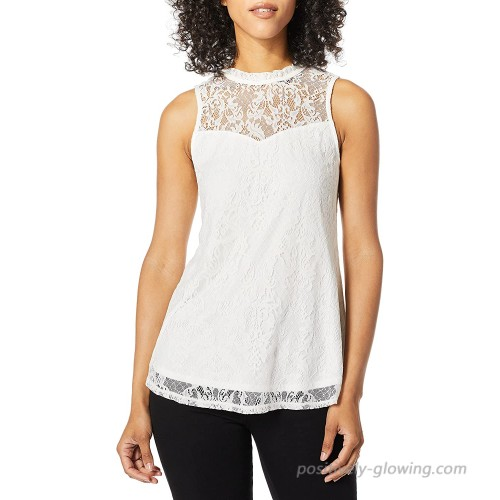 A. Byer Women's Sleeveless Mock-Neck Woven Top with Lace Yoke Juniors at Women's Clothing store